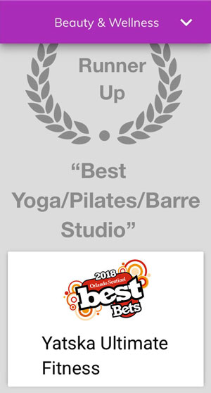 Runner Up Award for Best Yoga, Pilates Barre Studio